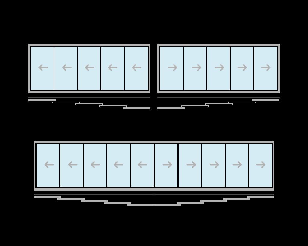 vetrate scorrevoli per balconi cinque aperture