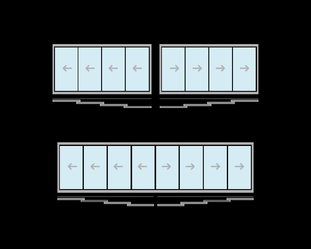 vetrate scorrevoli per balconi quattro aperture